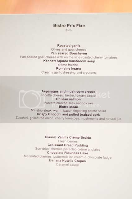 Brandywine Bistro Menu
