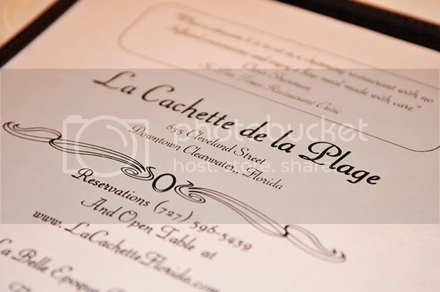 La Cachette,Clearwater Florida,Menu